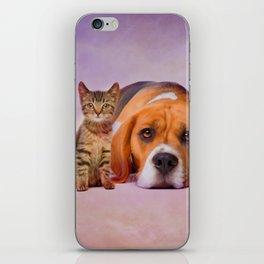 Beagle dog and kitten digital art iPhone Skin