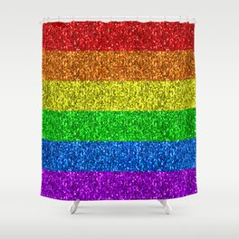LGBT flag vibrant rainbow glitter sparkles Shower Curtain