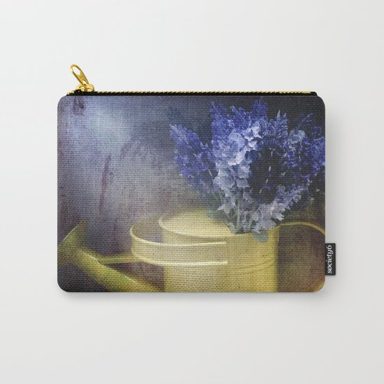 One yellow watering can with violet flowers Carry-All Pouch