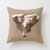 apple Throw Pillows featuring Apple by fabiotir
