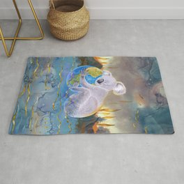 Koala Loves Earth - Australian Surreal Climate Change  Rug