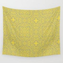 Illuminating Yellow & Ultimate Gray Pattern Wall Tapestry