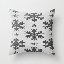Snow Pattern Snowflakes Patterns Black White Throw Pillow