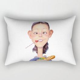 A girl holding a shopping paper bag Rectangular Pillow