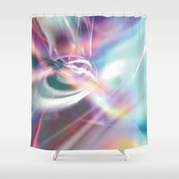 1984 Shower Curtains featuring Disco 1984 by Palm Street Gallery