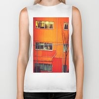 industrial Biker Tanks featuring Orange Industrial by Thick Paint Works
