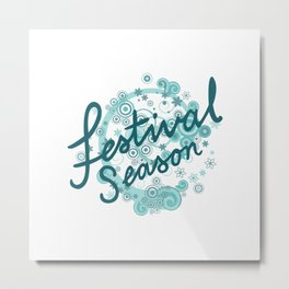 Festival Season Design Teals Metal Print