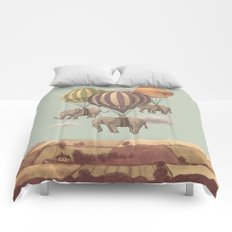 Flight of the Elephants - mint option Comforters