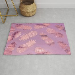 Pretty Pink & Rose Gold Pineapple Pattern Rug