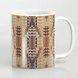 Orange Khaki Dark Brown Mosaic Pattern Coffee Mug