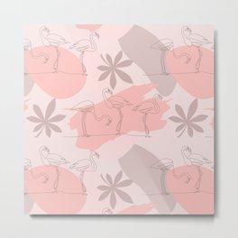 Summer Blush Flamingos and Leaves Metal Print
