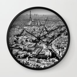 Streets of Paris, Eiffel Tower, Champs-Élysées, River Seine black and white photograph Wall Clock