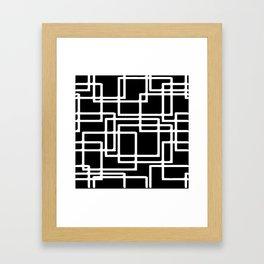 Interlocking White Squares Artistic Design Framed Art Print