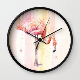 Pink Flamingo Watercolor Bird Animals Whimsical Animal Wall Clock