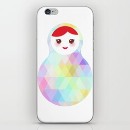 Russian doll matryoshka with bright rhombus on white background, rainbow pastel colors iPhone Skin