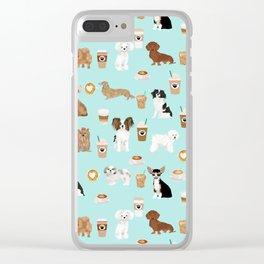 Coffee Dogs cute miniature dog breeds chihuahua bichon terrier Shih tzu pomeranian latte coffees Clear iPhone Case