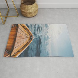 Alone at Sea-The canoe Rug