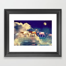 Horse to the moon Framed Art Print