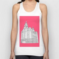liverpool Tank Tops featuring Liverpool Liver Building  by sarah illustration