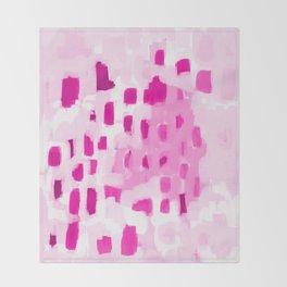 Zimta - pink abstract painting dots mark making canvas art decor Throw Blanket