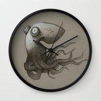 octopus Wall Clocks featuring Octopus by Tim Probert