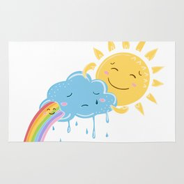 Sun cloud and rainbow friends Rug