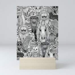 cryptid crowd black white Mini Art Print