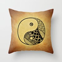 ying yang Throw Pillows featuring Ying Yang by WonderfulDreamPicture