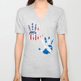 USA Scotland Handprint & Flag | Proud Scottish American Heritage, Biracial American Roots, Culture, Unisex V-Neck