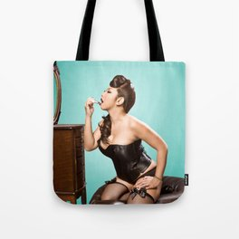 """Touch-up"" - The Playful Pinup - Sexy Pinup Girl Refreshing Lipstick by Maxwell H. Johnson Tote Bag"