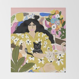 Life with cats Throw Blanket