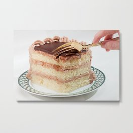 Layered Cake with Frosting Photograph Metal Print