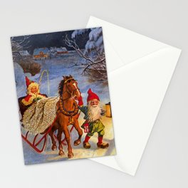 """""""Sled Ride at Night"""" by Jenny Nystrom Stationery Cards"""