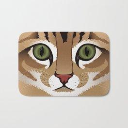 Cute brown tabby cat face close up illustration Bath Mat