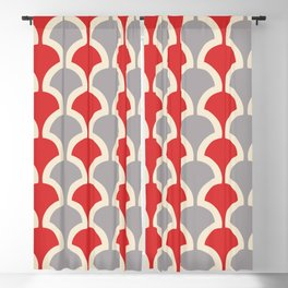 Classic Fan or Scallop Pattern 417 Gray and Red Blackout Curtain