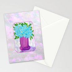 Magenta Vase with Aqua Flowers Stationery Cards