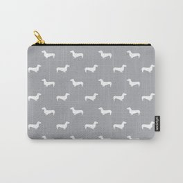 Dachshund pattern minimal grey and white dog lover home decor gifts accessories silhouette Carry-All Pouch