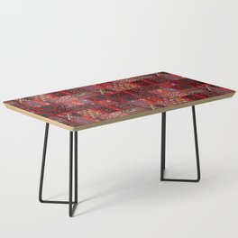 N246 - Red Oriental Berber Traditional Boho Moroccan Collage Coffee Table