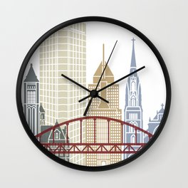 Pittsburgh V2 skyline poster Wall Clock