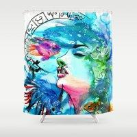 pisces Shower Curtains featuring Pisces by Gabi Xavier