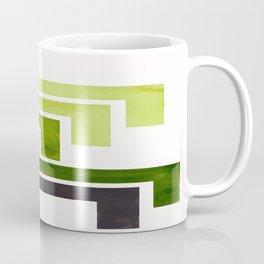 Sap Green Pattern Mid-century Modern Simple Geometric Pattern Watercolor Minimalist Art Squares Coffee Mug