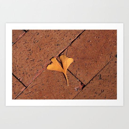 Ginkgo Leaf on the Sidewalk Art Print