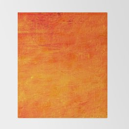 Orange Sunset Textured Acrylic Painting Throw Blanket