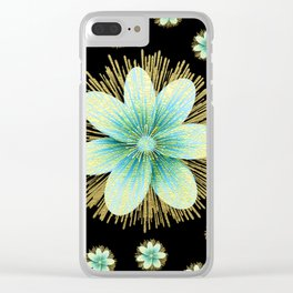Gold Blue Black Flowers Floral Pattern Clear iPhone Case