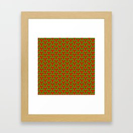 Christmas Triangles - Green on Red Framed Art Print