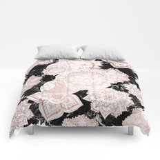 Modern rose gold floral mandala chic marble Comforters