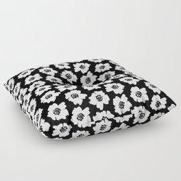 Linocut botanical nature floral flower art nursery black and white decor newborn Floor Pillow