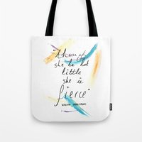 though she be but little Tote Bags featuring Though She Be But Little by rapunzette