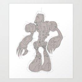 Mech Robot Claws Drawing Art Print