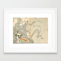 les mis Framed Art Prints featuring Mis Suenos by Angie Carrasco